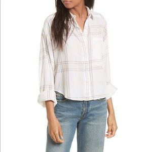 FREE PEOPLE Cutie Plaid Button Down Shirt in Ivory
